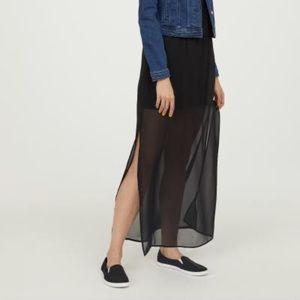 H&M maxi skirt black sheer mini slip elastic waist